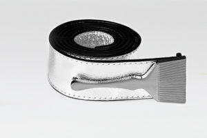 Leather Belt In Silver