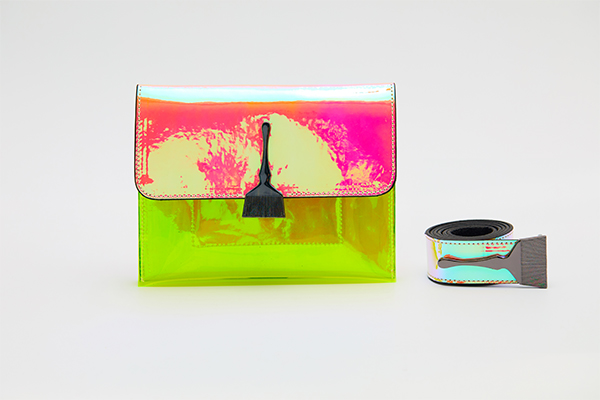 Reflective and Transparent Brush Bag In Pink and Neon Yellow