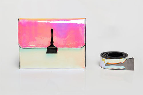 Reflective Brush Bag In Yellow & Pink