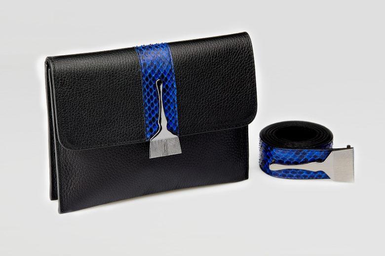 Stroke Of Wild Bag With Blue Stripe - Snake Skin Designer Bags