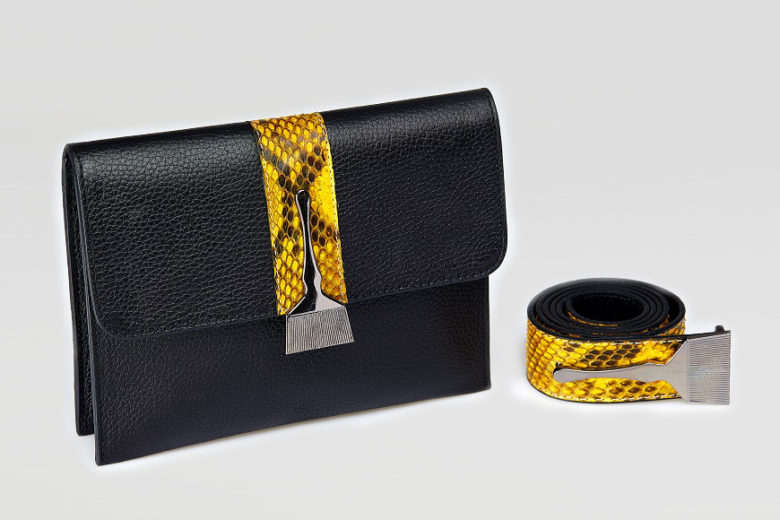 Stroke Of Wild Bag With Yellow Stripe - Snake Leather Purse