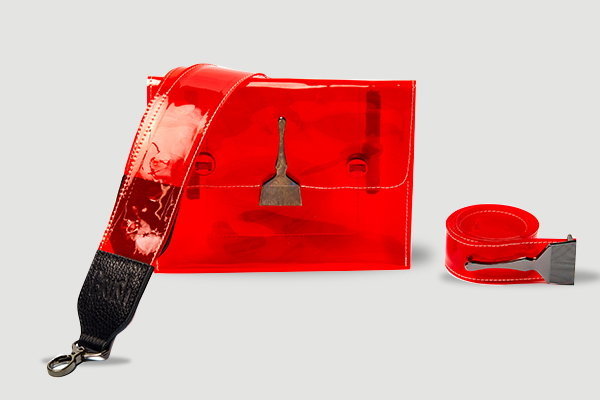 Brush Reflective Transparent Bag Red